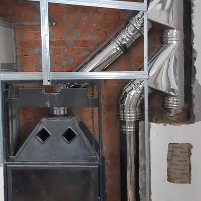 Отопительная печь совстроенным котлом для центрального отопления